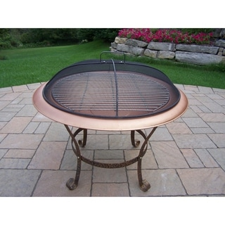 Saginaw Antique Bronze Finish Iron 30-inch Round Fire Pit with Spark Guard Lid and Grill