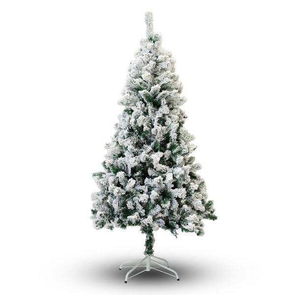 perfect holiday 8 flocked snow christmas tree - Overstock Christmas Decorations