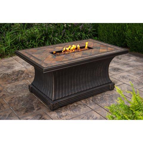 Cascadian Rectangular Slate Gas Firepit Table with Red Lava Rocks, Weather Cover, Strip Burner and Wind Blocker Set
