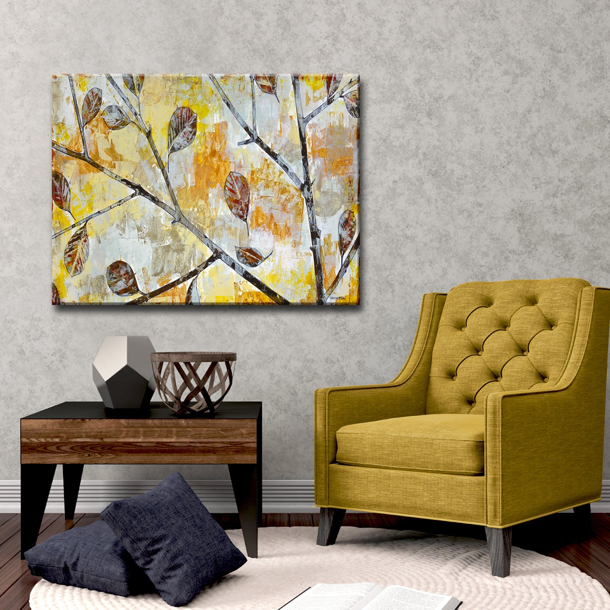 Wind Tossed Autumn Leaves By Norman Wyatt Jr Floral Wrapped Canvas Wall Art Overstock 13254080