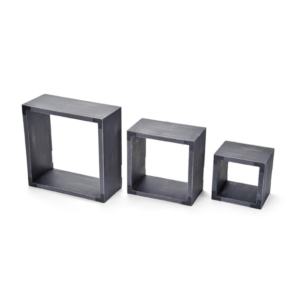 Melannco Distressed Grey Wood Square Cubes (Pack of 3)