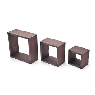 Melannco Set of 3 Distressed Dark Wood Square Cubes