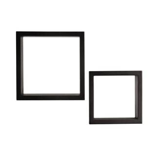 Melannco Black Wood Cubes (Set of 2)