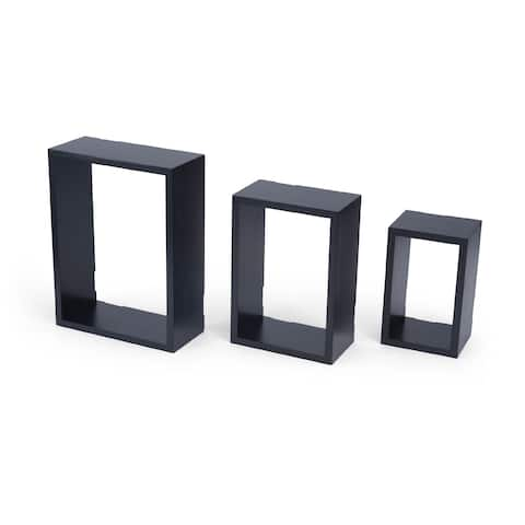Melannco Black Wood Rectangular Cubes (Pack of 3)