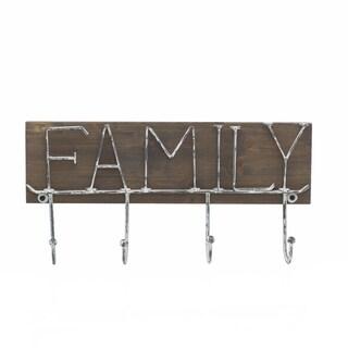 Melannco Brown Wood Metal 4-hook 'Family' Coat Rack