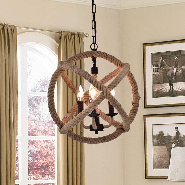 Twirlie 16.5-inch Hemp Rope Antique Bronze Metal Chandelier