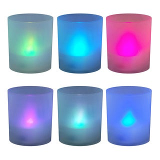 Color Changing Flameless LED Candles in Frosted Votive Holders (Set of 6)