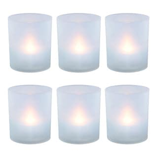 Frosted Votive Holders with Battery Operated Warm White LED Light (Set of 6)