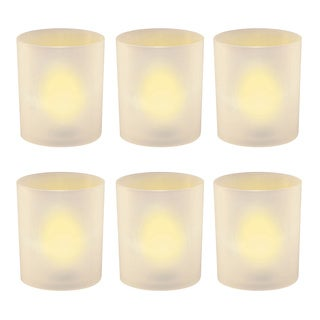 Amber Frosted Holder Flameless LED Votive Candles (Pack of 6)