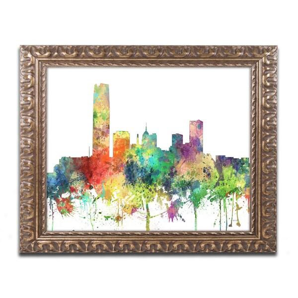 Marlene Watson 'Oklahoma City Oklahoma Skyline SP' Ornate Framed Art