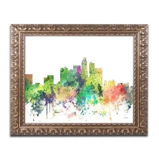 Marlene Watson 'Los Angeles California Skyline SP' Ornate Framed Art