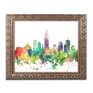 Marlene Watson 'Indianapolis Indiana Skyline SP' Ornate Framed Art
