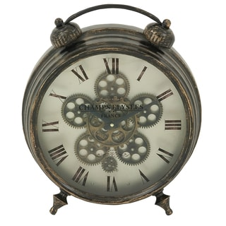 Champs Elysees France 18-inch Industrial Gear Round Table Clock