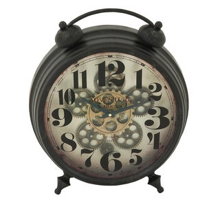 Urban Designs Adventure Warrior London Black Industrial Gear 18-Inch Round Table Clock