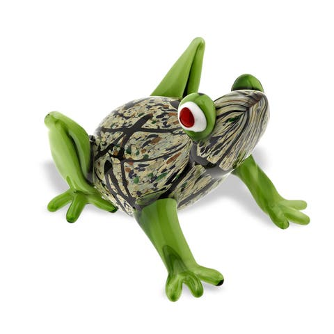 4 in. H x 6 in. L Mouth Blown Art Glass Frog