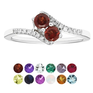 H Star Sterling Silver 2-stone Diamond Accent Birthstone Ring (H-I, I1-I2)