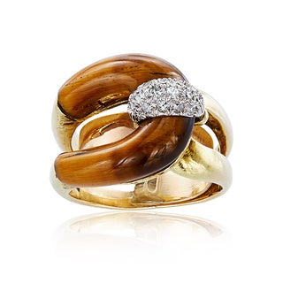 14K Yellow Gold 1/3ct TDW Freeform Tiger Eye Double Shank Estate Ring (H-I, SI1-SI2)