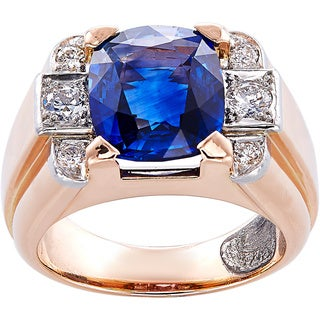18K Rose Gold 1/2ct TDW Diamond and 5ct Oval Sapphire Cocktail Ring (G-H, VS1-VS2)