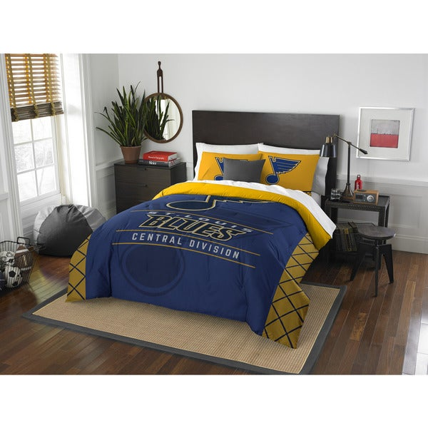 The Northwest Company NHL 849 Blues Draft Blue/Yellow Polyester Full/Queen 3-piece Comforter and Shap Set