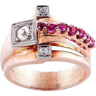 14K Pink Gold 1/4ct TDW Rubies and Diamonds Estate Deco Ring (H-I, SI1-SI2)