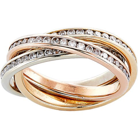 14K Tri-tone Gold 1 1/4ct TDW Trinity Eternity Band Ring (H-I, SI1-SI2)