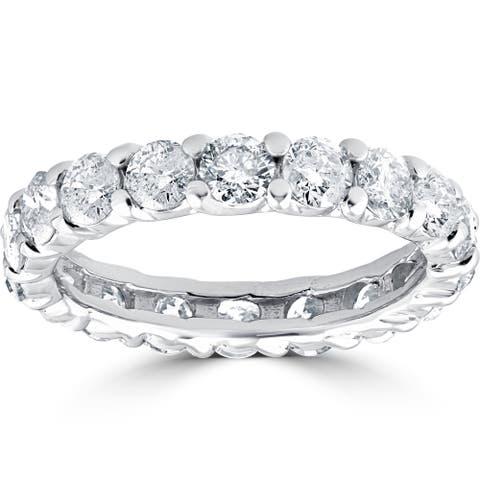 14k White Gold 3 1/2 cttdw Diamond Eternity Wedding Ring U Prong (J-K,I2-I3)