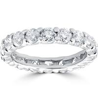 14k White Gold 3 1/2 cttdw Diamond Eternity Wedding Ring U Prong (J-K,I2-I3)