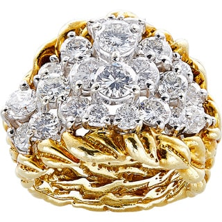 18K Yellow Gold 4ct TDW Cluster Diamonds Leaf Band Estate Cocktail Ring Size 5.75 (F-G, VS1-VS2)