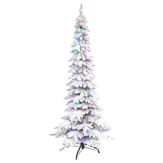 Puleo International  7.5' Pre-lit Whistler Pine Flocked Tree