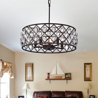 Link to Happy Antique-bronze 18.5-inch Round Crystal Chandelier Similar Items in Chandeliers