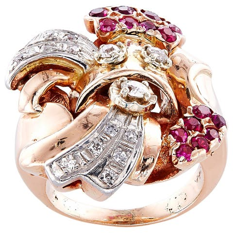 14k Pink Gold 1/2ct TDW Diamonds and Rubies Estate Deco Ring (H-I, SI1-SI2)