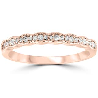 14k rose gold 15 cttw diamond stackable womens wedding ring - Rose Gold Wedding Rings For Women