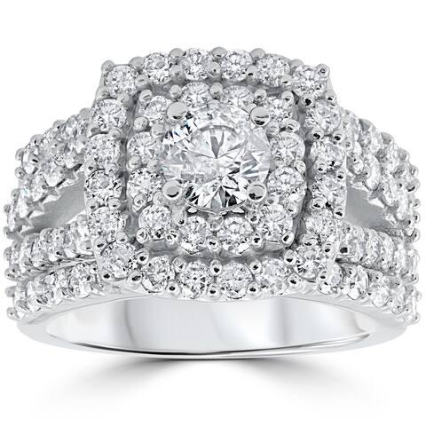 10k White Gold 3ct TDW Diamond Double Halo Trio Bridal Ring Set - White I-J
