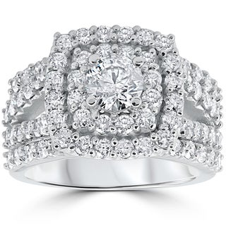 10k White Gold 3 ct Diamond Engagement Wedding Double Cushion Halo Trio Ring Set (I-J, I2-I3)
