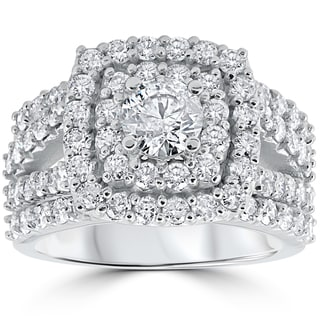 10k White Gold 3ct TDW Diamond Double Halo Trio Bridal Ring Set