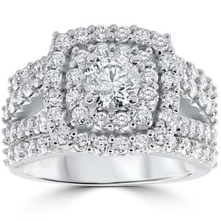 10k white gold 3ct tdw diamond double halo trio bridal ring set - Trio Wedding Ring Set