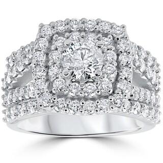 Merveilleux 10k White Gold 3ct TDW Diamond Double Halo Trio Bridal Ring Set