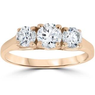 14k Rose Gold 1ct Three Stone Diamond Anniversary Engagement Ring (I-J, I2-I3)