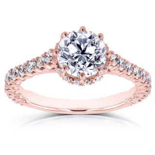 Annello by Kobelli 14k Rose Gold 1 3/5ct TDW Round Brilliant Diamond 8-Prong Center Standing Halo Engagement Ring (H-I, I1-I2)