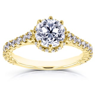Annello by Kobelli 14k Yellow Gold 1 3/5ct TDW Round Brilliant Diamond 8-Prong Center Standing Halo Engagement Ring (H-I, I1-I2)