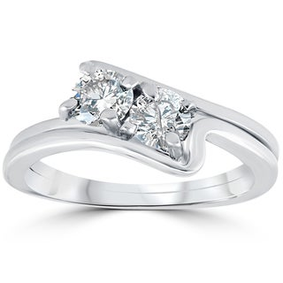 10k White Gold 3/4 ct TDW Two Stone Diamond Engagement Wedding Ring Set