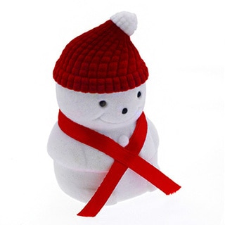 White/Red Plastic/Fabric Snowman Jewelry Box