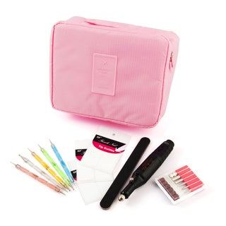Zodaca 7-piece Nail Art Luxury Gift Set of Electric Manicure Pedicure Tool/ File/ Stickers Pens with Travel Cosmetic Bag