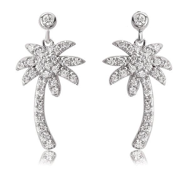 976046717 Shop Avanti Sterling Silver Cubic Zirconia Palm Tree Post Earrings ...