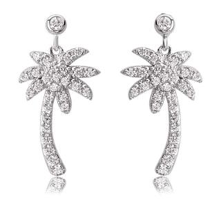 Avanti Sterling Silver Cubic Zirconia Palm Tree Post Earrings