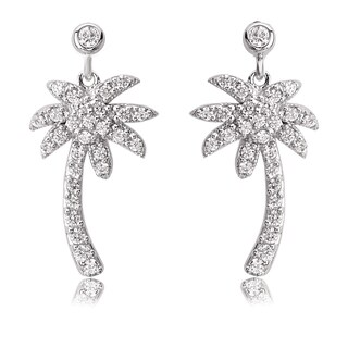 Avanti Sterling Silver Cubic Zirconia Palm Tree Post Earrings