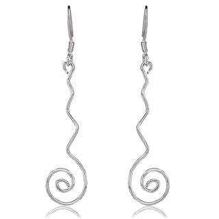 Avanti Sterling Silver Spiral Drop Long Fashion Earrings