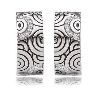 Avanti Sterling Silver Cubic Zirconia Ringlet Design Half Hoop Earrings