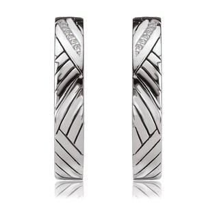 Avanti Sterling Silver Cubic Ziriconia Geometric Patterned Half Hoop Earrings