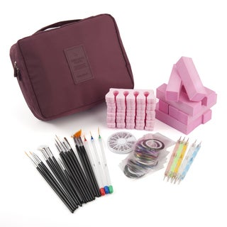 Zodaca 8-piece Nail Art Luxury Gift Set of Brushes/ Drawing Pens/ 3D Rhinestones/ Stickers/ Sanding Blocks with Cosmetic Bag